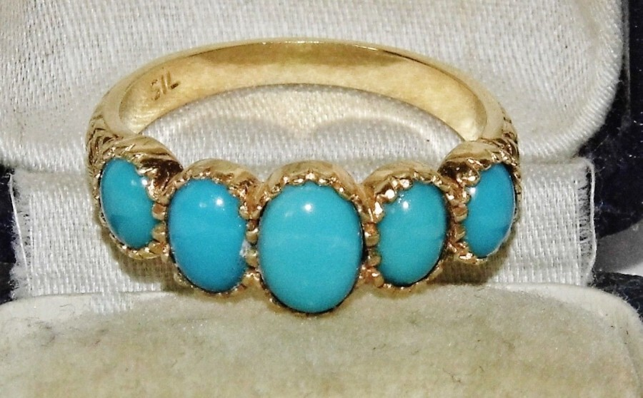 Edwardian style 9ct Gold on Silver Turquoise 5 Stone Cabochon Ring size O