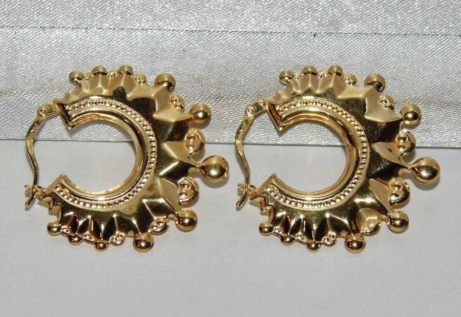 Antique 9ct Gold Spiked Large Victorian Style Creole Hoop Ladies Earrings