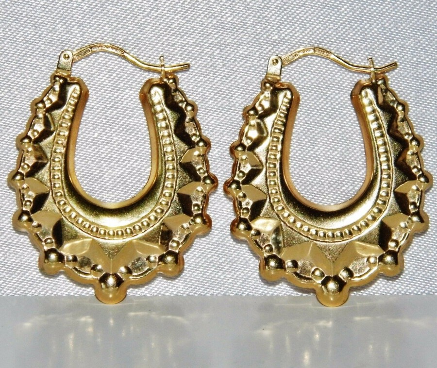 Antique 9ct yellow gold Victorian style creole earrings
