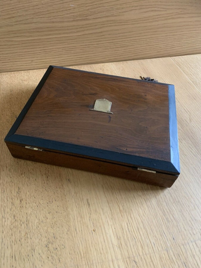Antique Antique Victorian Rosewood Brass Bound Writing Slope Box