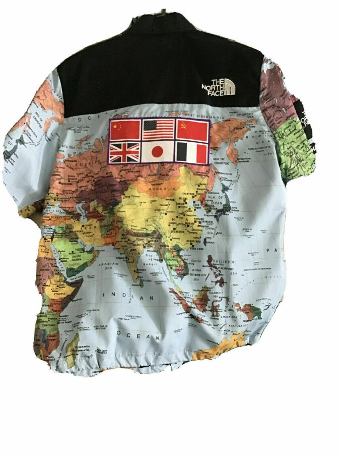 Antique Supreme X The North Face Expedition Coaches Jacket World Map XXL