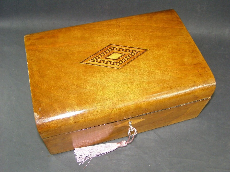 Victorian Antique Mahogany Domed Writing Slope Document box Tunbridge Centre