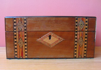 Antique Victorian Mahogany Work Box with Tunbridge Ware Inlay