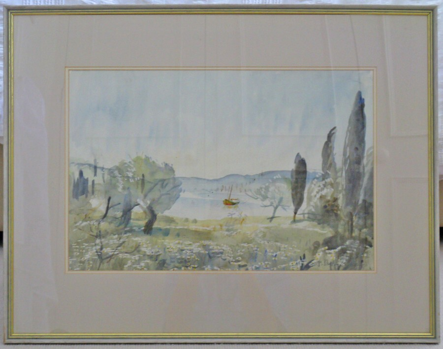 Original Watercolour 'Morning Light, Corfu' 1986 by Elizabeth Scott-Moore