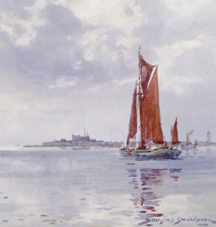 Antique Original 1920s Watercolour of Coastal Scene with Steamer passing a Sailing Barge by Douglas Snowdon
