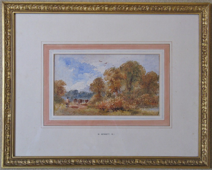 Original Victorian Watercolour of Autumnal Rural Scene by William Bennett