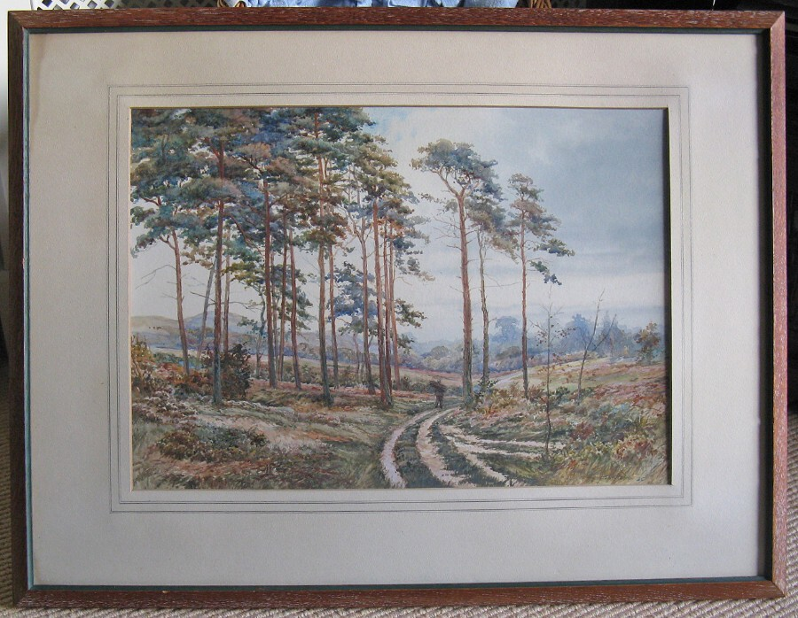 Original 1930s Watercolour of Landscape with Scots Pines and Faggot Gatherer by Tom Howe
