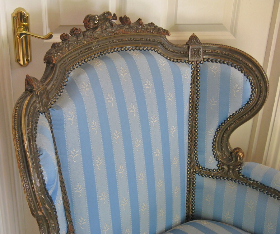 Antique 19thC French Gilt & Carved Beechwood Bergere Armchair with Later Upholstery