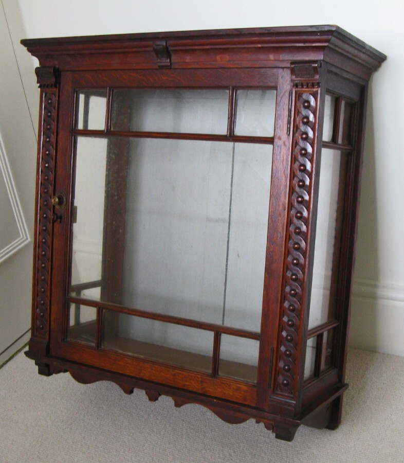 Early 20thC Stained Oak Wall-Hung Cabinet with Astragal Glazed Door