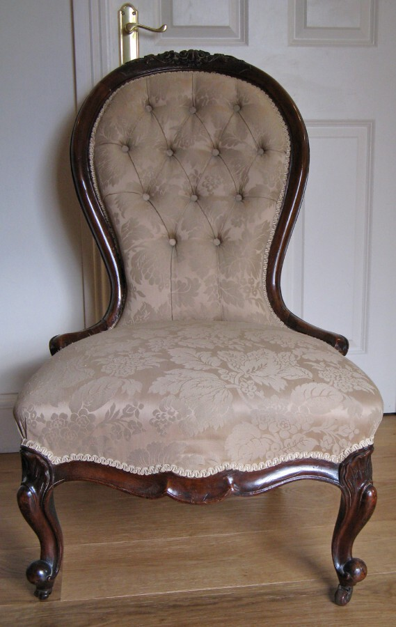 Antique Late 19thC Walnut Framed & Upholstered Lady's Slipper Chair