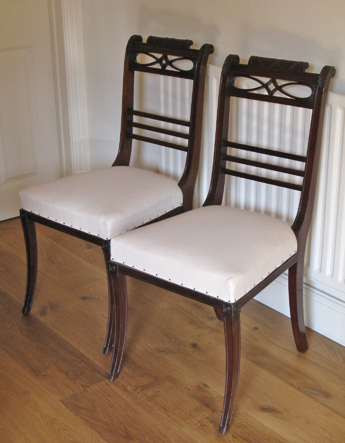Antique Pair of Early 20thC French Mahogany Regency Style Side Chairs
