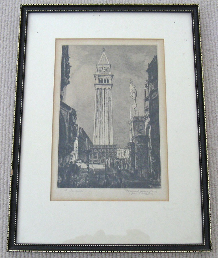 Original Hogarth Framed Etching 'The Campanile, Venice' by Wilfred Huggins (Brit. 1873-1949)