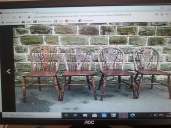 Antique ASH & ELM Country Farmhouse style Victorian Chairs.