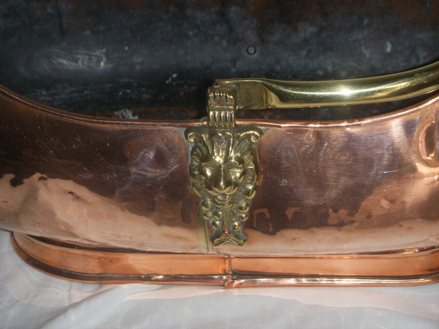 Antique DUTCH COPPER (with Brass Embellishments) LOG BASKET with DELFT HANDLE