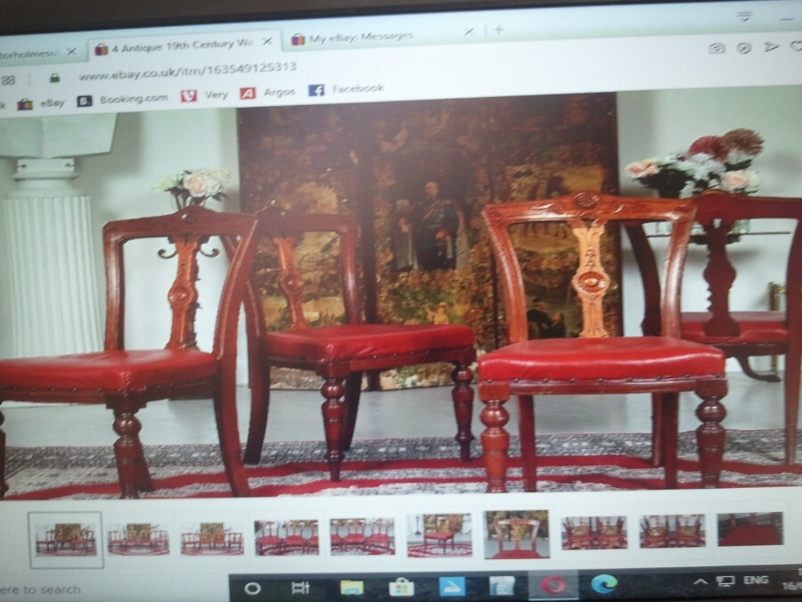 FOUR CARVED RED LEATHER CHAIRS. VICTORIAN. HEAVY!