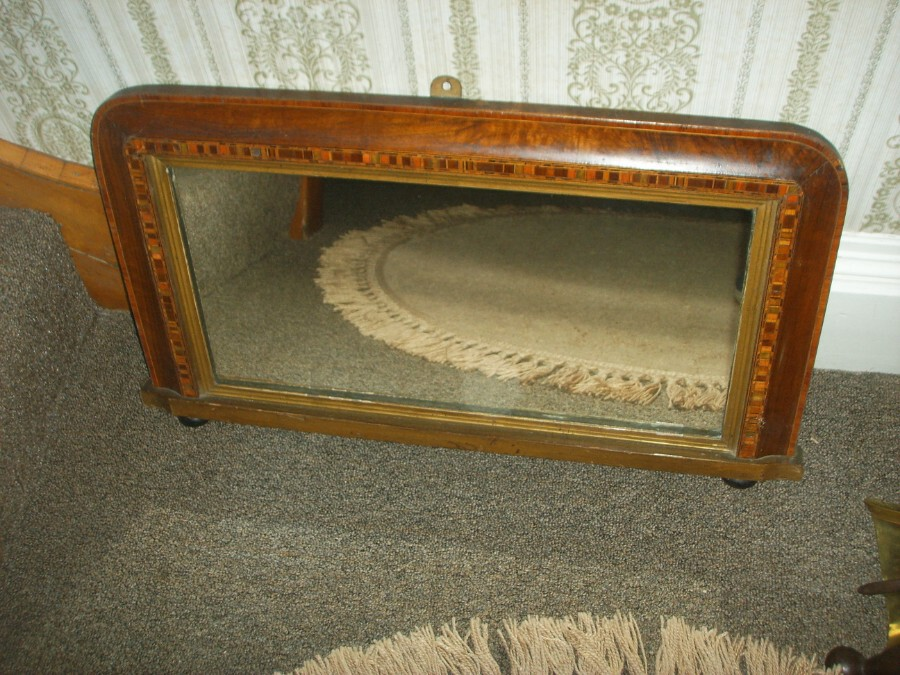 AN OVERMANTLE MIRROR 1930's with Bevelled Edge Mirror and Banding inlaid