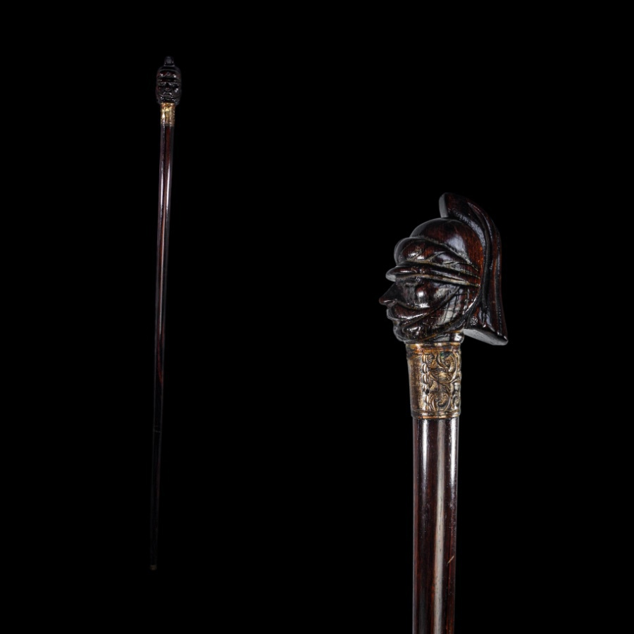 Antique A Military Figure Rosewood Walking Stick Cane Circa. Early 19th Century.