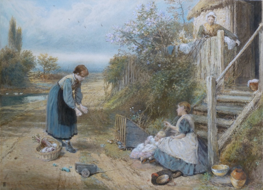 Antique MYLES BIRKET FOSTER watercolour