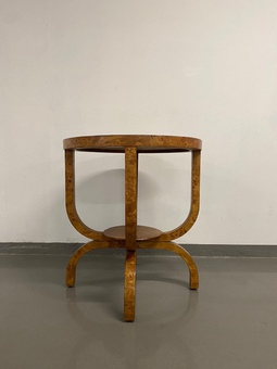 Circular Art Deco Display Table in polished Burr Oak from the 1920s