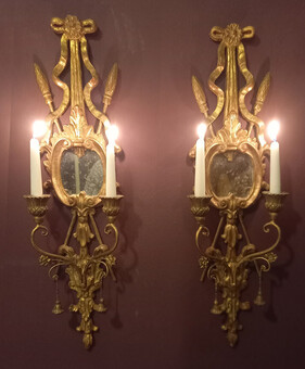 Pair of Continental Mirrored Gilt-wood Girondal Sconces