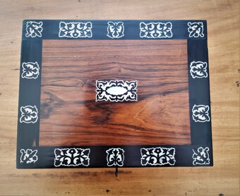 Antique Antique mother of pearl inlaid writing slope REDUCED!