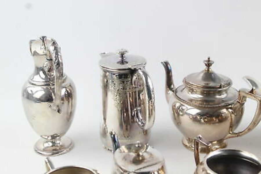 Antique 10 x Vintage SILVER PLATE Teapots & Sets Inc. Walker & Hall, Jug Etc (4093g)