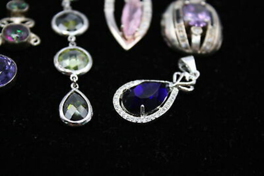 Antique 10 x .925 Sterling Silver PENDANTS inc. Sapphire, Amethyst (42g)