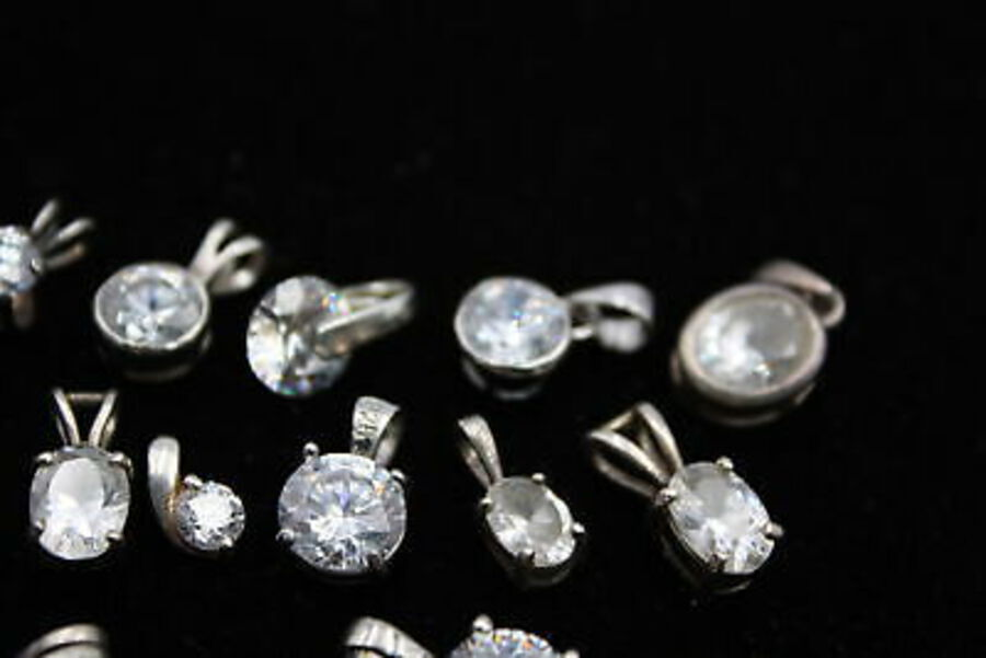 Antique 15 x .925 Sterling Silver PENDANTS inc. Cubic Zirconia, Oval, Round (21g)