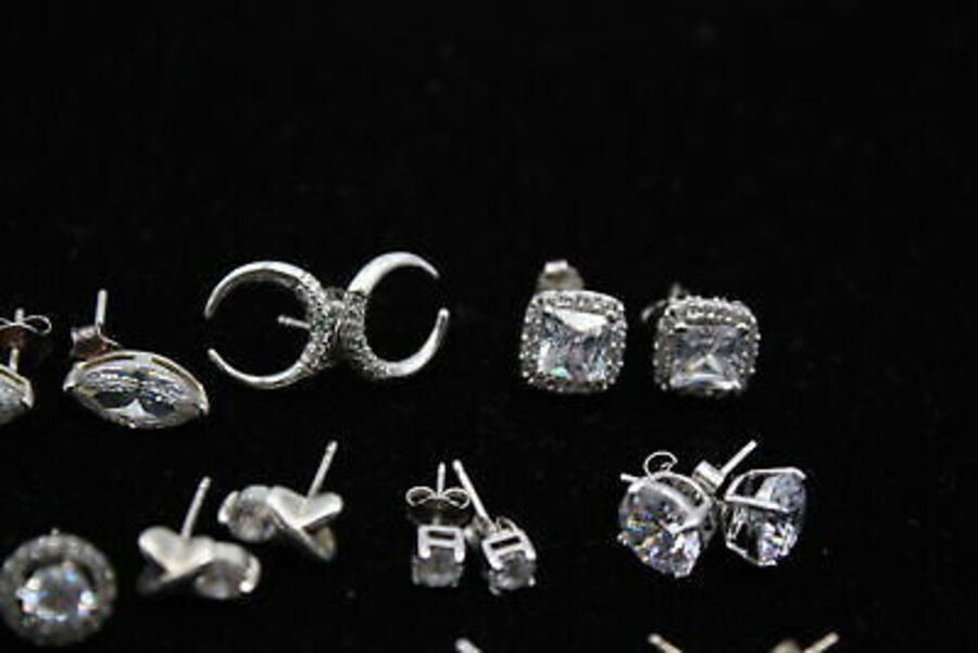 Antique 15 x .925 Sterling Silver EARRINGS inc. Studs, CZ, Square, Wings (28g)