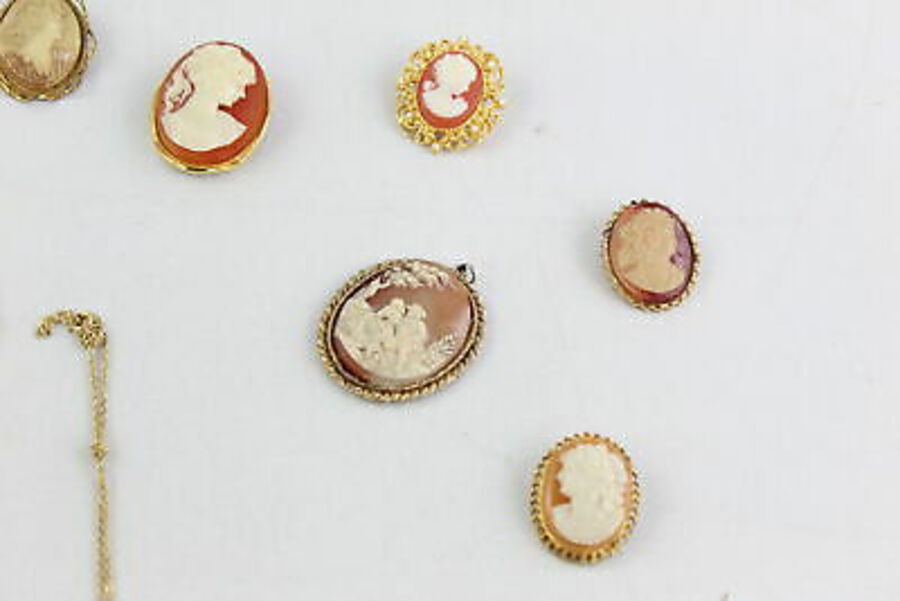 Antique 20 x Costume CAMEO JEWELLERY w/ Profile, Brooches, Necklaces, Pendants, Clip On