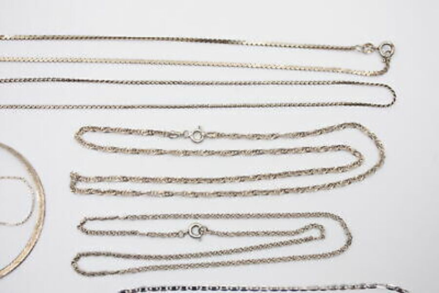 Antique 11 x Vintage .925 Sterling Silver CHAINS inc. Snake Link, Fancy Link (31g)
