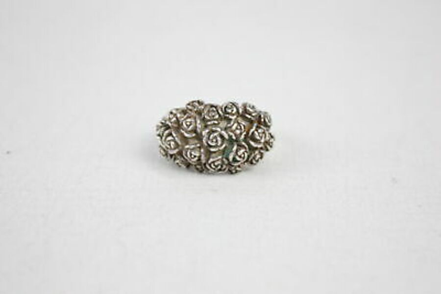 .925 Sterling Silver Dower & Hall RING inc. Rose, Flower, Bouquet, Carved (14g)