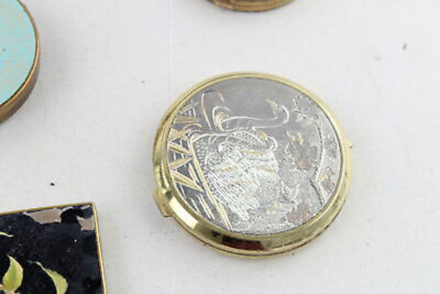 Antique 8 x Vintage Ladies Vanity COMPACTS Inc Coty, Elizabeth Aden, Enamel, Gold Tone
