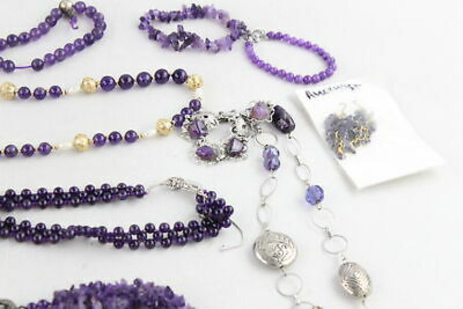 Antique 40 x Vintage GEMSTONE JEWELLERY inc. Amethyst, Necklaces, Bracelets