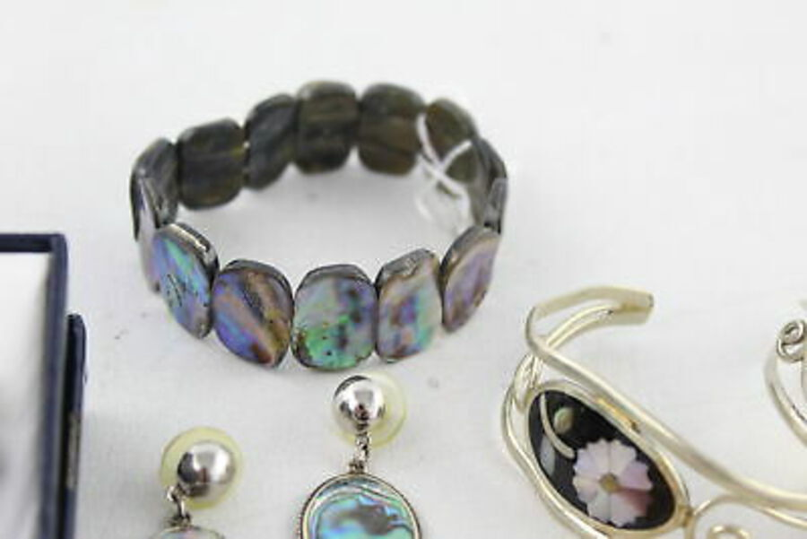 Antique 15 x Vintage ABALONE JEWELLERY inc. Alpaca, Necklaces, Mexico Stamped, Bangles