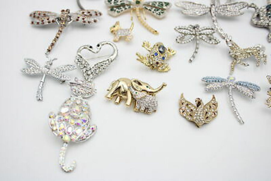 Antique 25 x ANIMAL BROOCHES inc. Rhinestone, Spider, Dolphin, Elephant