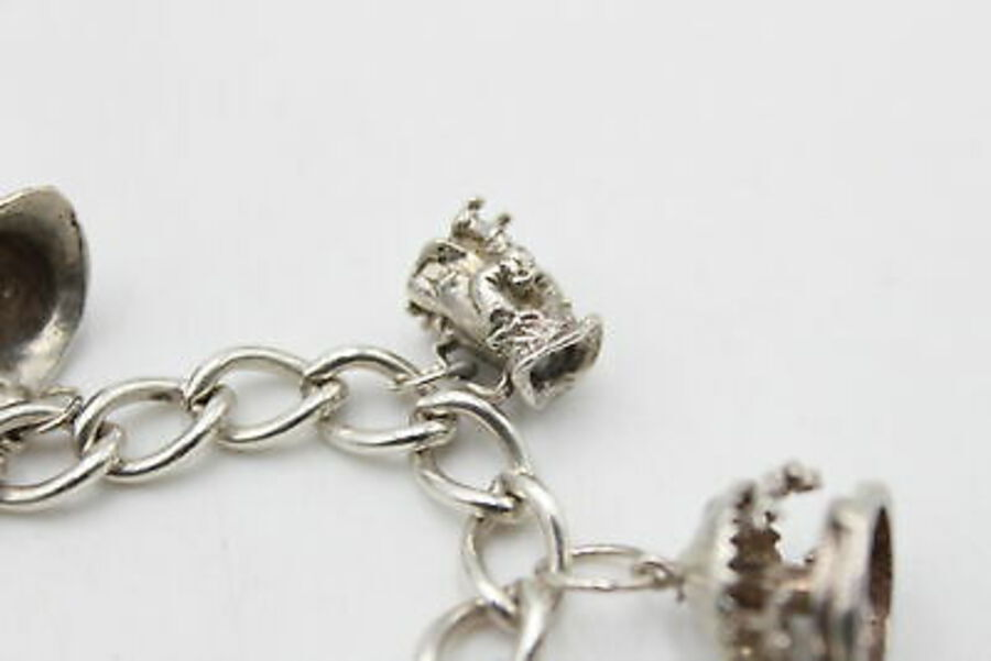 Antique .925 STERLING Silver Charm BRACELET inc. Opening, Moving, Souvenir (38g)