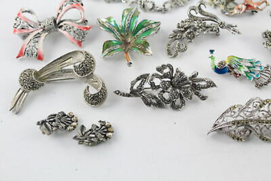 Antique 15 x Vintage MARCASITE JEWELLERY inc. Enamel, Bracelets, Brooches, Rings