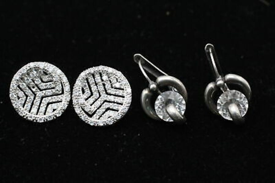 Antique 12 x Vintage .925 Sterling Silver EARRINGS inc. CZ, Statement, Drops (34g)