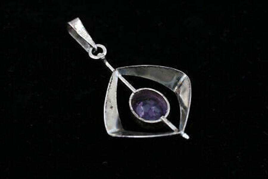 Antique 2 x .925 Sterling Silver PENDANTS inc. Modernist, Amethyst, Minimalist (10g)