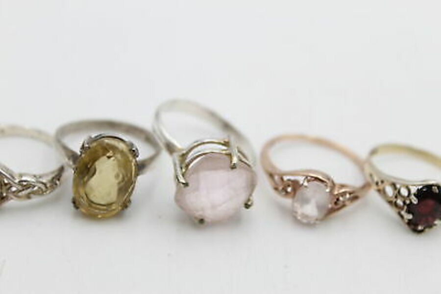 Antique 6 x .925 Sterling Silver RINGS inc. Rose Quartz, TGGC, Celtic Style (17g)