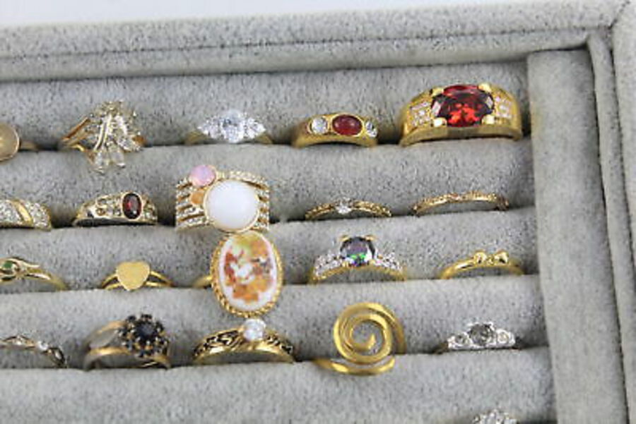 Antique 50 x Vintage Costume RINGS inc. Gold Tone, Rhinestone, Cocktail, Cluster, Bombe