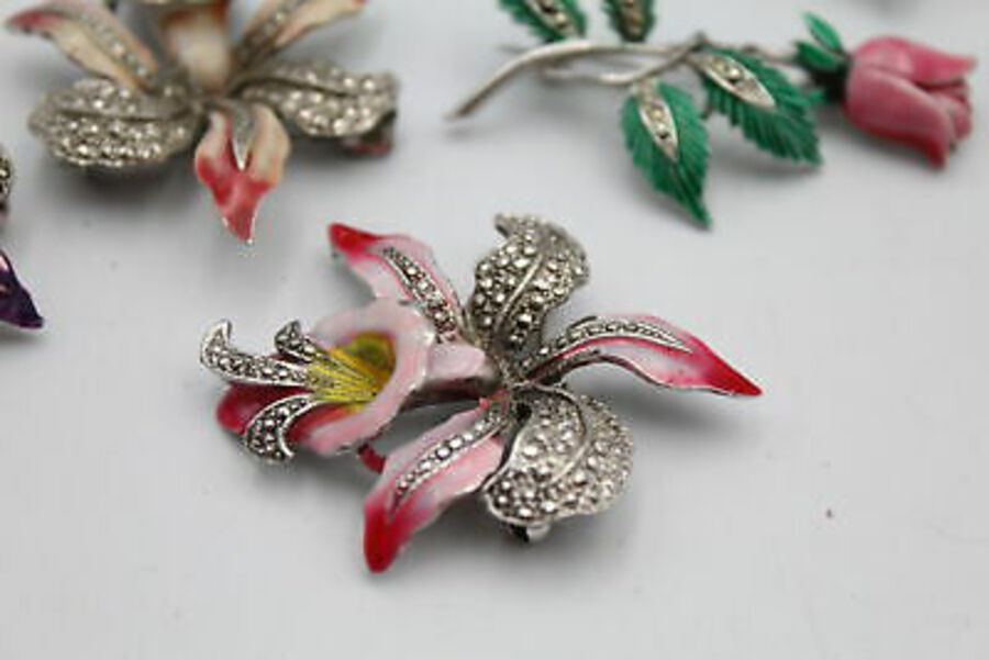 Antique 11 x Vintage MARCASITE JEWELLERY inc. Enamel, Brooches, Earrings, Floral, Fish