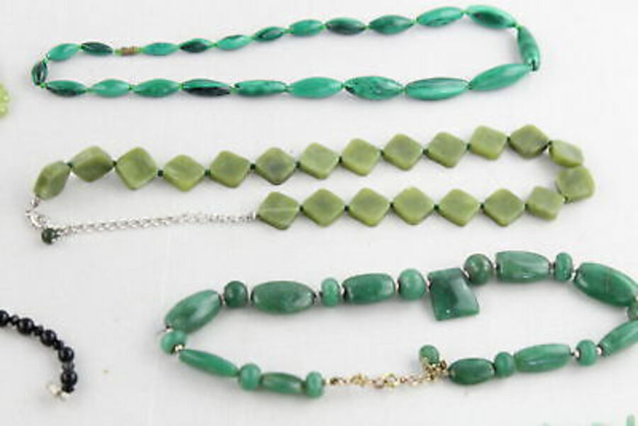 Antique 12 x Vintage GEMSTONE NECKLACES inc. Peridot, Malachite, Quartz, Onyx, Turquoise