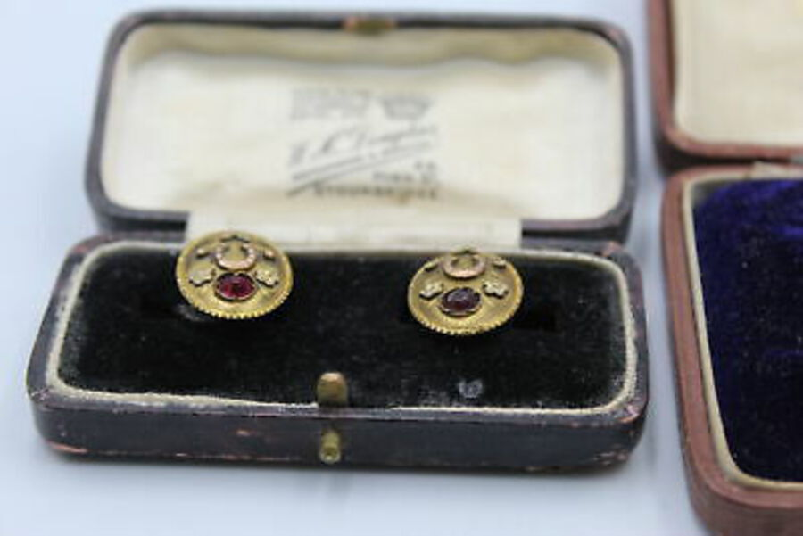Antique 3 x Antique GENTS Accessories w/ Cufflinks, Partial Dress Stud Set, Original Box