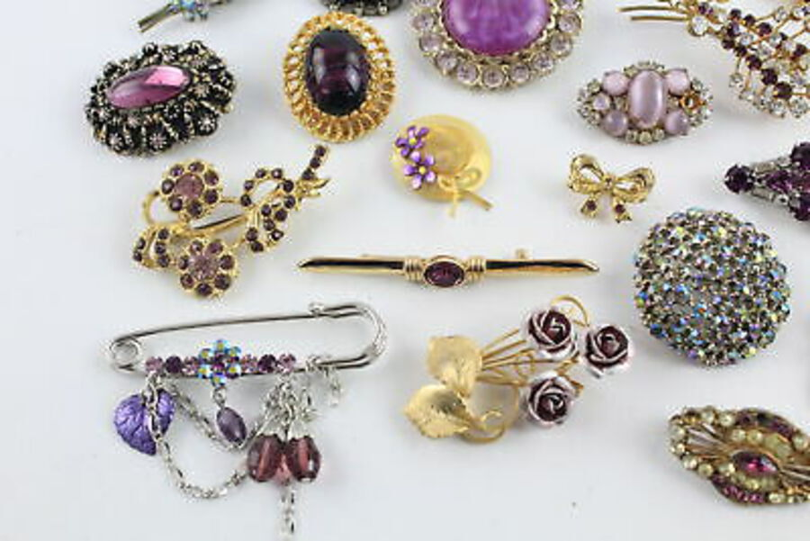 Antique 25 x Vintage BROOCHES inc. Statement, Scarf Clip, Rhinestone, Floral