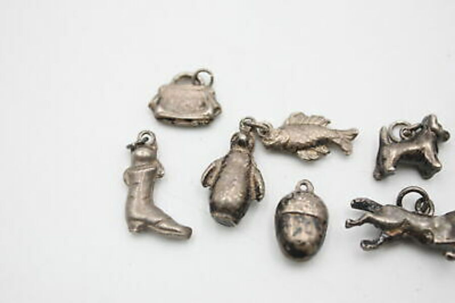 Antique 9 x Vintage .925 Sterling Silver CHARM PENDANTS inc. Animal, Acorn, Teapot (32g)
