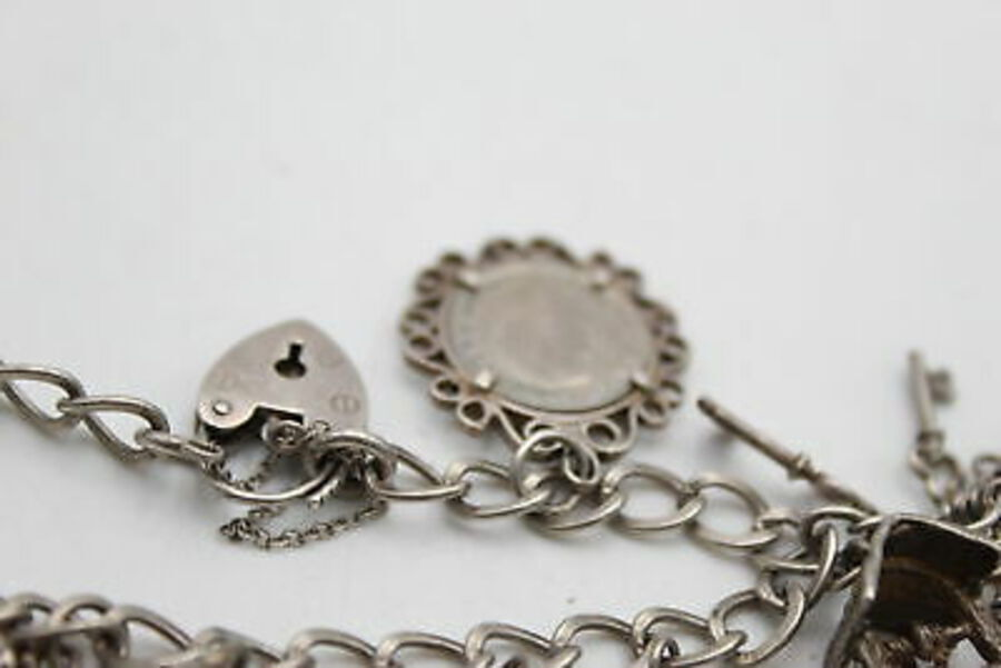 Antique .925 Sterling Silver CHARM BRACELET inc. Heart Padlock, Opening Charms (35g)