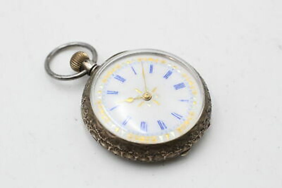 Antique 2 x Vintage Ladies .800 / .935 SILVER Cased FOB WATCHES Key & Hand-Wind (82g)