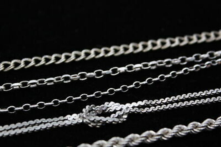 Antique 5 x .925 Sterling Silver BRACELETS inc. Curb, Rolo Link (28g)